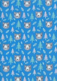 Craft Cotton Co. - Into The Woods Bears, Trees & Leaves Blue