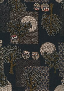 Sevenberry Japanese Fabric - Blue Owls & Trees On Black