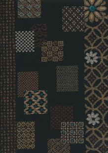 Sevenberry Japanese Fabric - Gold Large Floral On Black