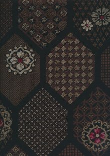 Sevenberry Japanese Fabric - Burn Orange Floral Crest On Black
