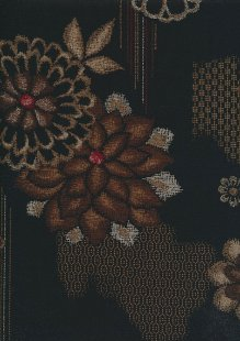 Sevenberry Japanese Fabric - Gold Pressed Flower On Black