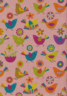 Sevenberry Japanese Fabric - Bright Birds On Pink