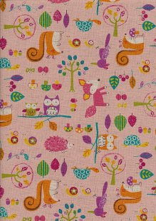 Japanese Fabric - Owls, Hedgehogs, Birds, Tortoises, Foxes & Snails On Pink