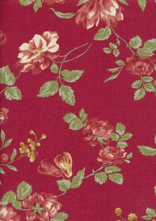 Sevenberry Japanese Fabric - Lecien Medium Floral On Red