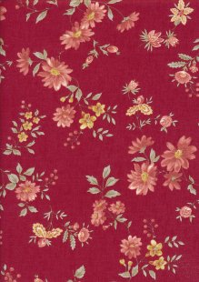 Sevenberry Japanese Fabric - Lecien Small Floral On Red