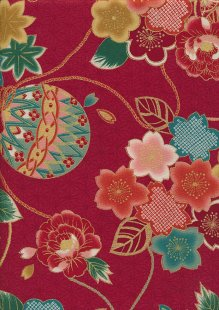 Authentic Gilded Japanese - Chrysanthemum Red 67530 col 104