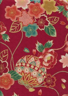Authentic Gilded Japanese - Peony Posy Red 68980 col 103