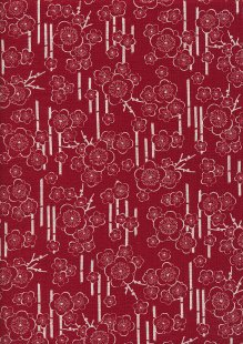Sevenberry Japanese Linen Look Cotton - Blossom Red 68170