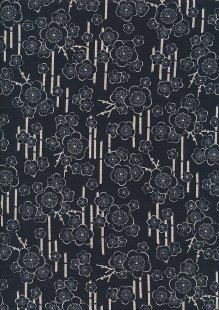 Sevenberry Japanese Linen Look Cotton - Blossom Navy Blue 68170