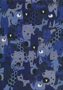 Sevenberry Japanese Linen Look Cotton - Animals Blue
