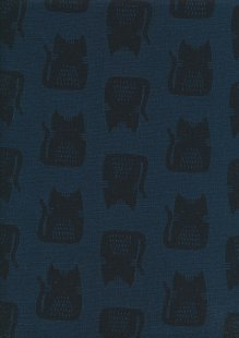 Sevenberry Japanese Linen Look Cotton - Cats Navy Blue