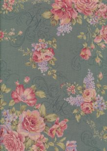 Lecien Japanese Fabric - Vintage Rose 20800-105 TURQUOISE