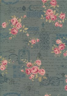 Lecien Japanese Fabric - Vintage Rose 20800-112 TURQUOISE