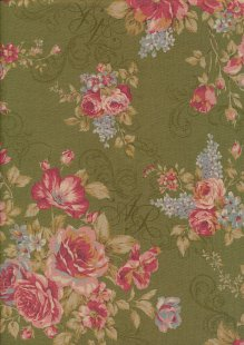 Lecien Japanese Fabric - Vintage Rose 20800-104 GREEN