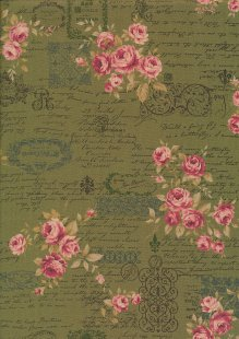 Lecien Japanese Fabric - Vintage Rose 20800-111 GREEN