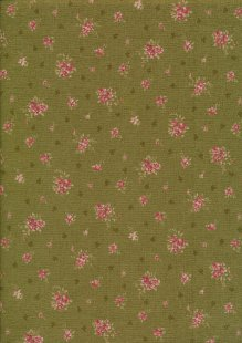 Lecien Japanese Fabric - Vintage Rose 20800-125 GREEN