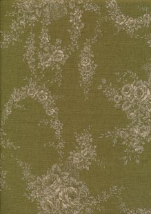Lecien Japanese Fabric - Vintage Rose 20800-132 GREEN