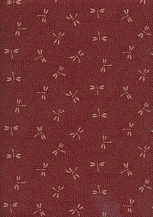 Sevenberry Japanese Fabric - Dragonflies On Dots Red
