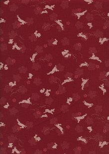 Sevenberry Japanese Fabric - Hares Red