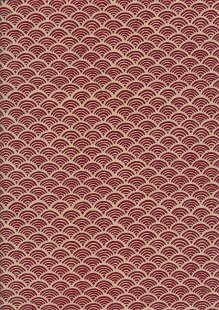 Sevenberry Japanese Fabric - Scallops Red