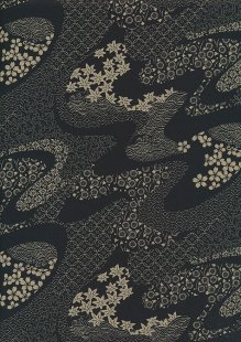 Sevenberry Japanese Fabric - Floral Swirl Black