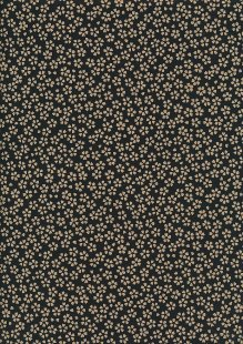 Sevenberry Japanese Fabric - Small Presed Flowers & Leaves Black