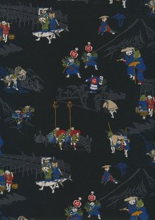 Sevenberry Japanese Fabric - Cats Black