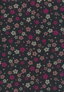 Sevenberry Japanese Fabric - Pink Small Pressed Flowers & Leaves Black