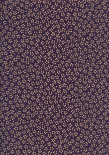 Sevenberry Japanese Fabric - Small Pressed Flowers & Leaves Purple