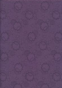 Sevenberry Japanese Fabric - Clouds & Leaves Purple