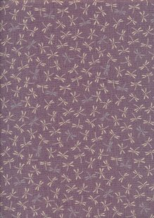 Sevenberry Japanese Fabric - Dragonflies Purple