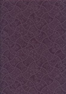 Sevenberry Japanese Fabric - Wavy Floral Purple