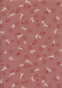 Sevenberry Japanese Fabric - Hares Pink