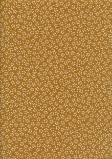 Sevenberry Japanese Fabric - Small Pressed Flowers & Leaves Orange