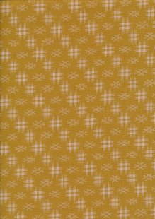 Sevenberry Japanese Fabric - Faded Grid Yellow