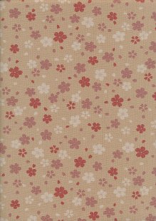 Sevenberry Japanese Fabric - Pink Small Pressed Flowers & Leaves Cream