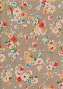 Sevenberry Japanese Fabric - Floral Bouquet Brown