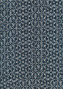 Sevenberry Japanese Fabric - Small Pressed Geometric Flower Blue