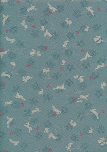 Sevenberry Japanese Fabric - Hares Turquoise