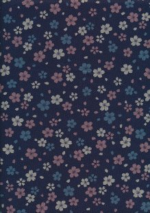 Sevenberry Japanese Fabric - Blue & Pink Small Pressed Flowers & Leaves Navy
