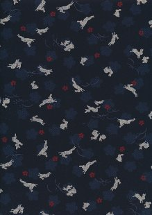 Sevenberry Japanese Fabric - Hares Navy
