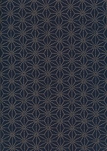 Sevenberry Japanese Fabric - Large Pressed Geometric Flower Navy