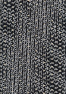 Sevenberry Japanese Fabric - Medium Pressed Geometric Flower Navy