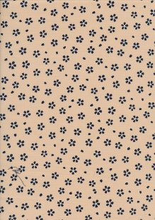 Sevenberry Japanese Fabric - Small Pressed Flowers & Leaves Cream