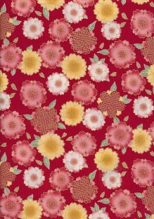 Authentic Gilded Japanese -Floral Red