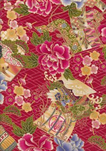 Traditional Japanese Print - Red 60440 Col 103