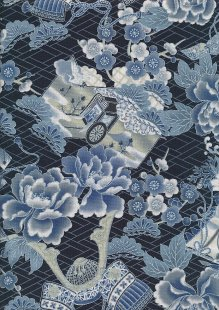 Traditional Japanese Print - Blue/Silver 60440 Col 2