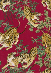 Sevenberry Japanese Fabric - Kimono Print SHINA Red 61180 Col 101