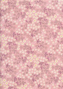 Sevenberry Japanese Fabric - Printed Twill Floral Sketch Pink