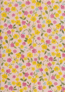 Sevenberry Japanese Fabric - Printed Twill Cottage Garden Pink
